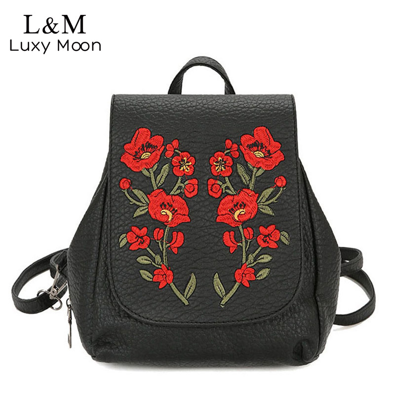 Women Backpack Floral Embroidery Backpacks Solid High Quality PU Leather Bag Teenage Girls School Vintage Bags Mochila XA1108H цена