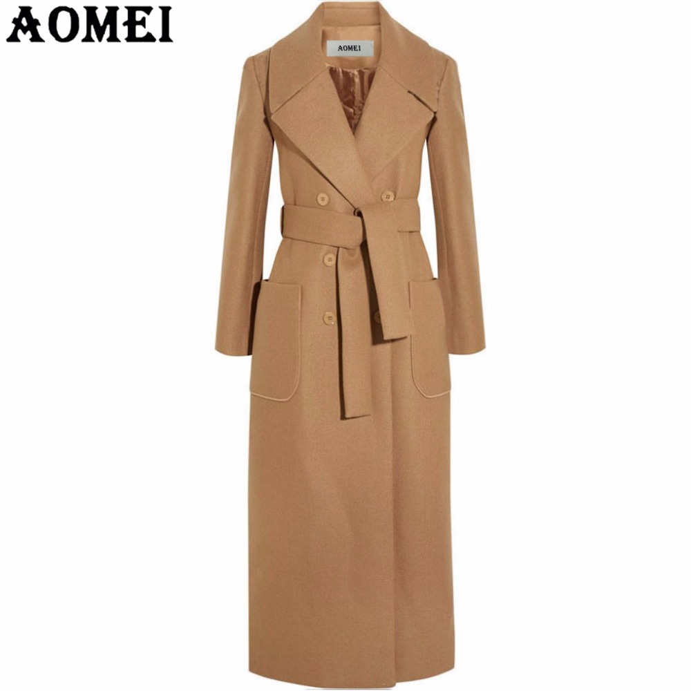 Women Long Wool Coats Camel with Front Pocket Office Lady Workwear Outwear Clothing Tweed New Fall