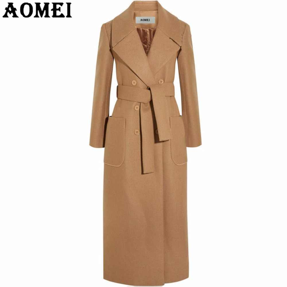 Women Long Wool Coats Camel with Front Pocket Office Lady Workwear Outwear Clothing Tweed New Fall Spring Overcoat Cape 2019