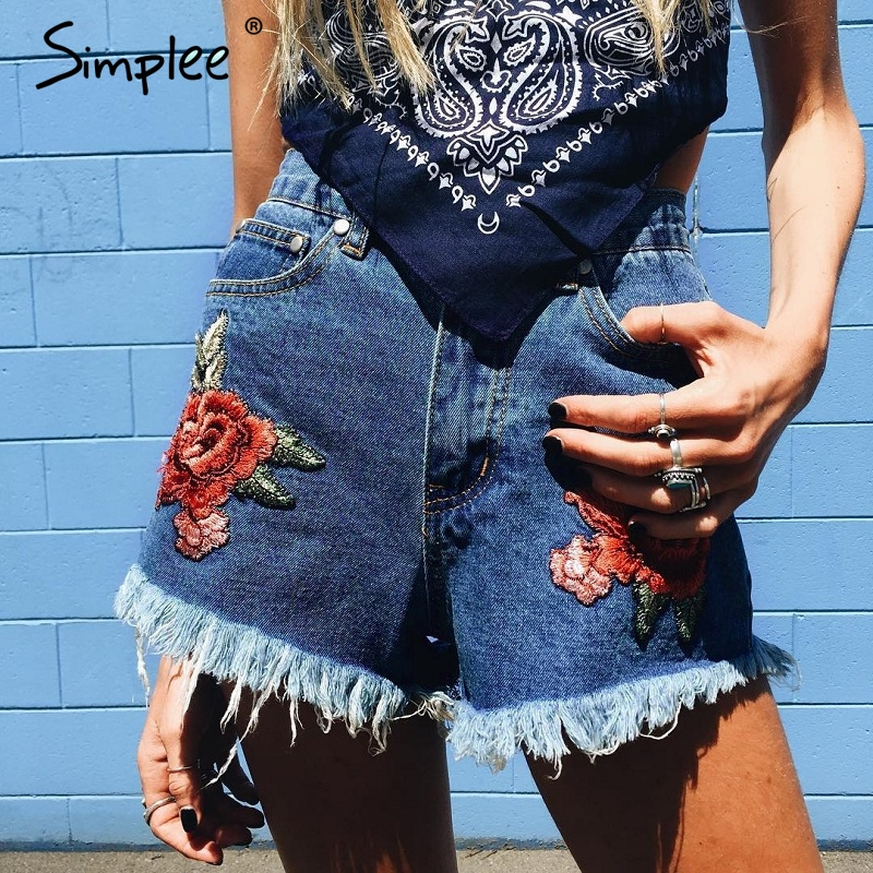 Simplee Flower Embroidery High Waist Denim Shorts Women Casual Zipper Tassel Fringe Jeans Shorts Summer Pocket Mini Shorts