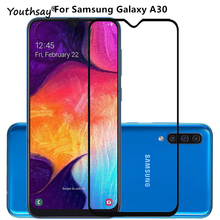 1PCS For Samsung Galaxy A30 Glass Screen Protector 2.5D Full Glue Coverage Film for
