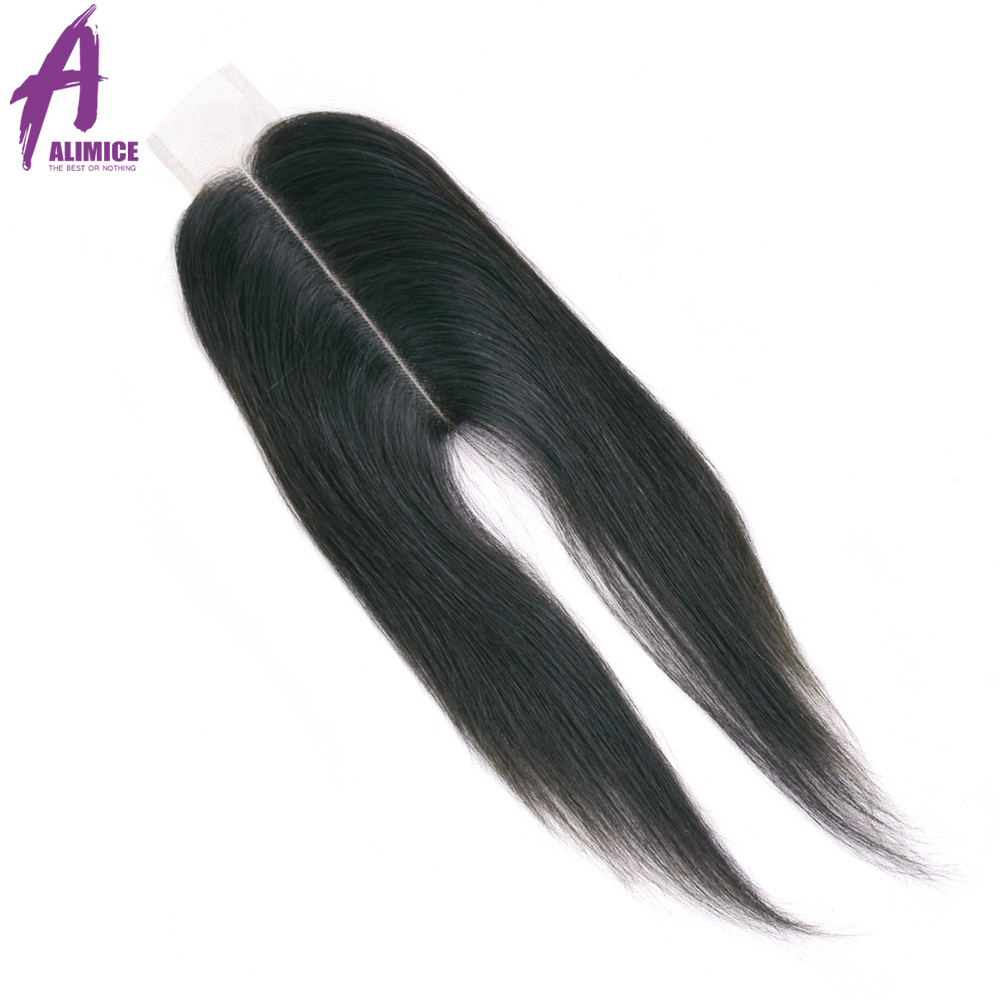 ALIMICE Hair Middle Part 2 6 Lace Closure Indian Straight Straight Closure Non Remy Human Hair