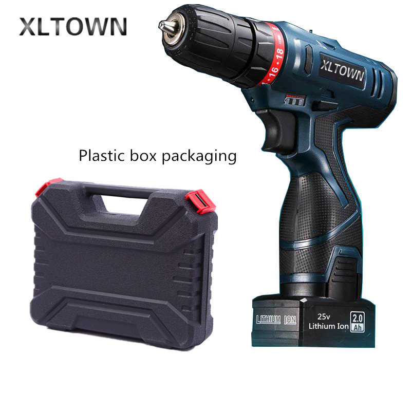 Xltown 25v two-speed rechargeable lithium battery electric screwdriver with a Plastic box packaging electric drill power tool replacement rechargeable 3 7v 2000mah lithium battery pack with screwdriver for nintendo 3ds