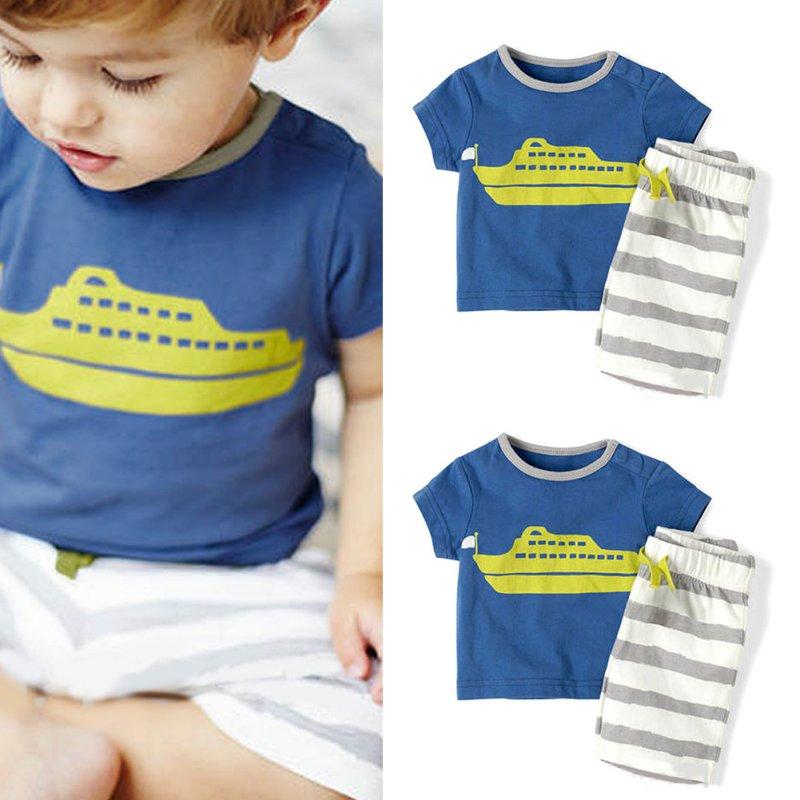 Summer Toddler Baby Boy Blue Short Sleeve T Shirt Stripe