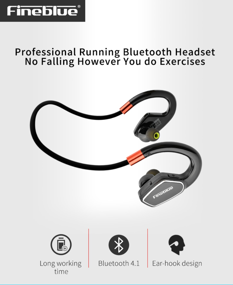 Second Generation Upgrade Fineblue M3 Sport Bluetooth Headphones Bluetooth 4.1 Wireless Sweat proof Sport Headphones Stereo second generation rhythm nalone wireless