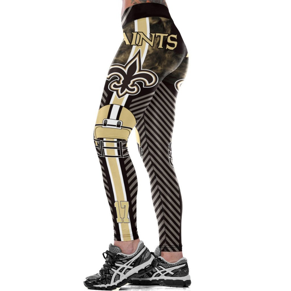 New Orleans S-Team Fitness Leggings Fiber Elastic Hiphop Party Cheerleader Rooter Workout Pants Logo Trousers Dropshipping image
