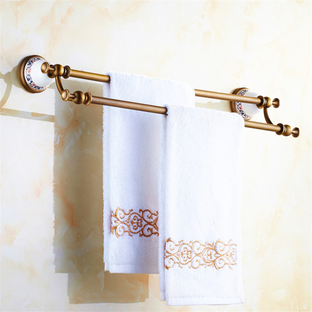 Antique Bronze Solid Brass Double Towel Bar Luxury Brushed Ceramic Wall Mounted Towel Rack Towel Holder Bathroom Hardware Q2 european carved copper brushed towel holder antique brass towel rack single bar wall mounted bathroom hardware sets