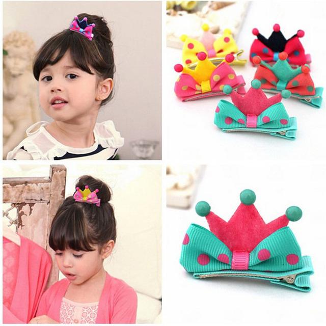 Crown kids baby children hair clip bow pin Crown hairpin