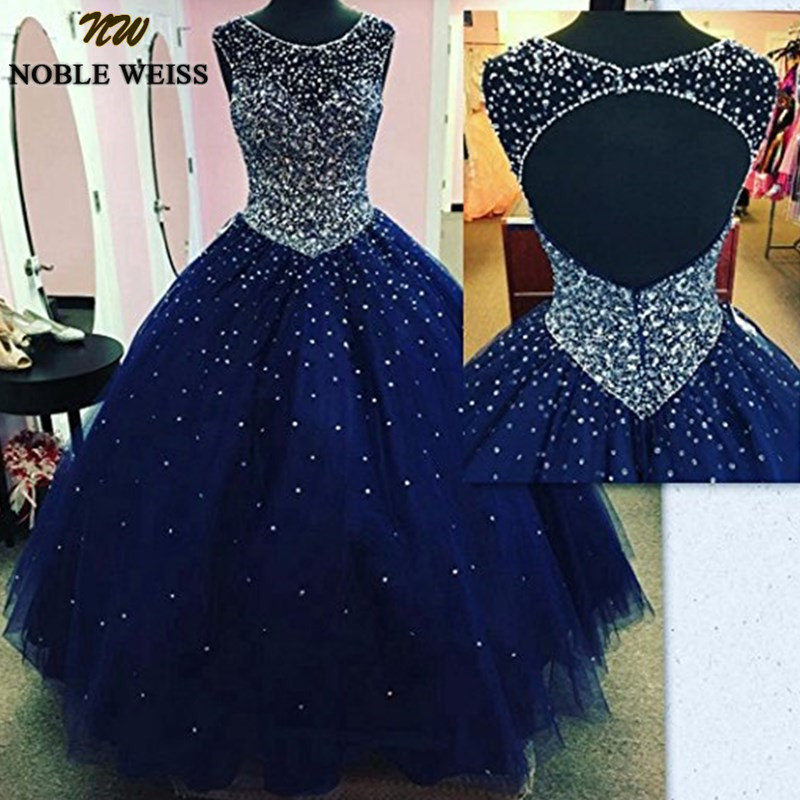NOBLE WEISS Sheer Scoop Neck Quinceanera Dresses 2019 Sweet 16 Ball Gowns Navy Blue Sparky Crystals