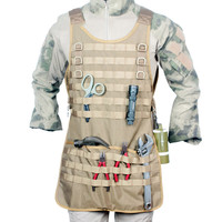 Tactical Chef Apron Brown Molle Vest 1000D Nylon Military Apron Tool Griling Dual Hammer Loops Vest