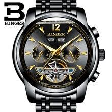 Binger calendario completo tourbillon mens relojes de primeras marcas de lujo reloj de pulsera mecánico automático reloj montre homme stee inoxidable