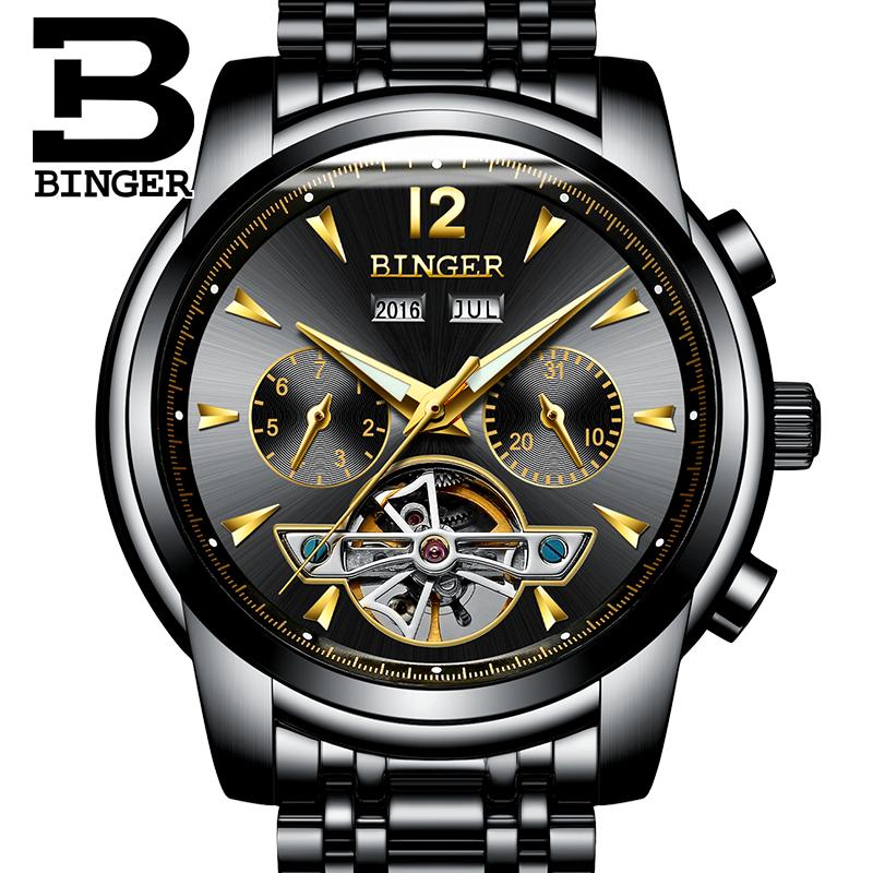 Prix pour BINGER Plein Calendrier Tourbillon Mécanique Mens Montres Haut Marque De Luxe Montre-Bracelet automatique Horloge Montre Homme Inoxydable stee
