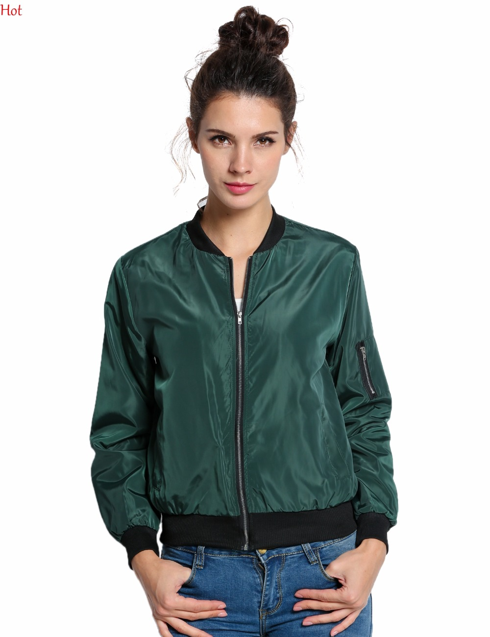 60862be722 2018 Hot Spring Army Green Bomber Jacket Women Zipper Casual Jacket Ladies  Coat Clothes Plus Size Bomber Female Coat SV027239