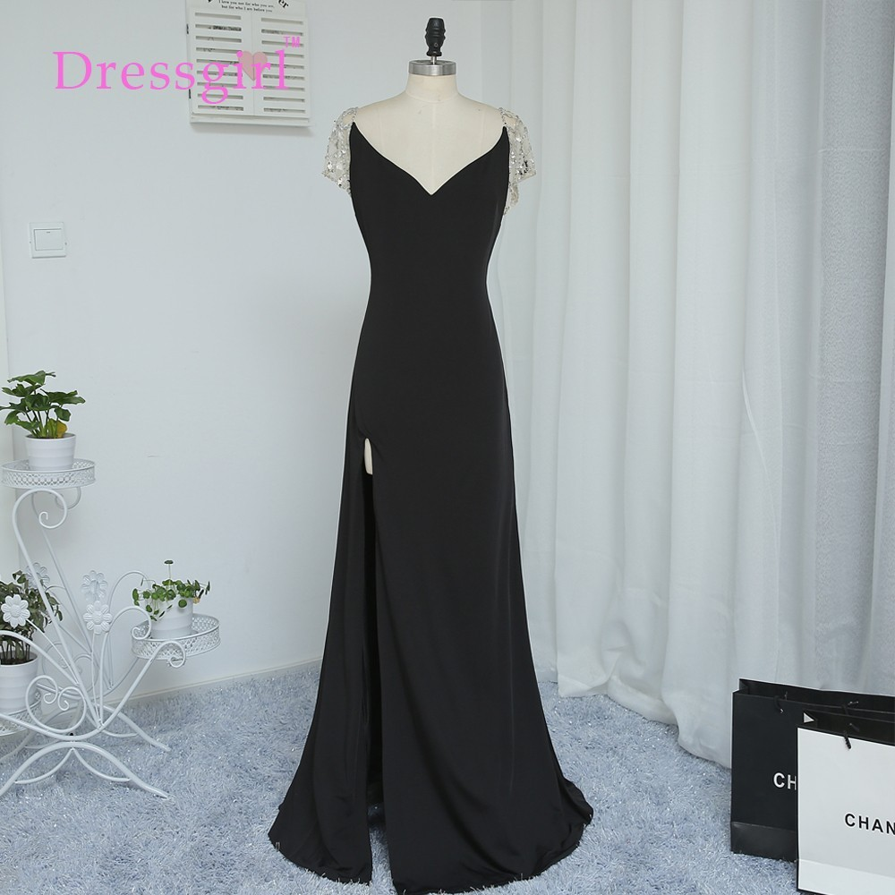 Dressgirl Black 2017 Prom font b Dresses b font Mermaid V neck Cap Sleeves Slit See