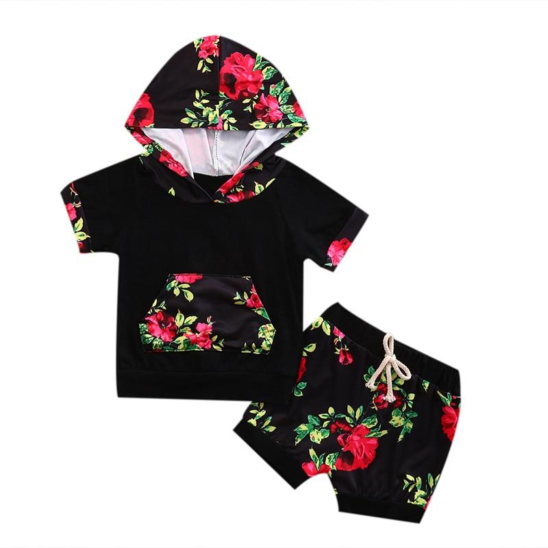 2pcs Fashion Newborn Infant Kids Baby Boy Girl Clothes Set Floral Short Sleeve Hooded Top T-shirt + Short Pants Outfits Set