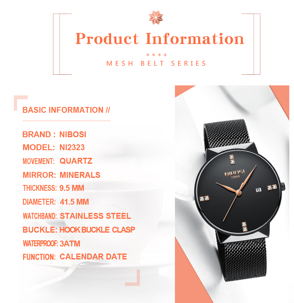 NIBOSI 2018 New Fashion Simple Watch Slim Mesh Band Mens Dress Watches Top Brand Luxury Male Relogio Masculino Quartz Wristwatch (4)