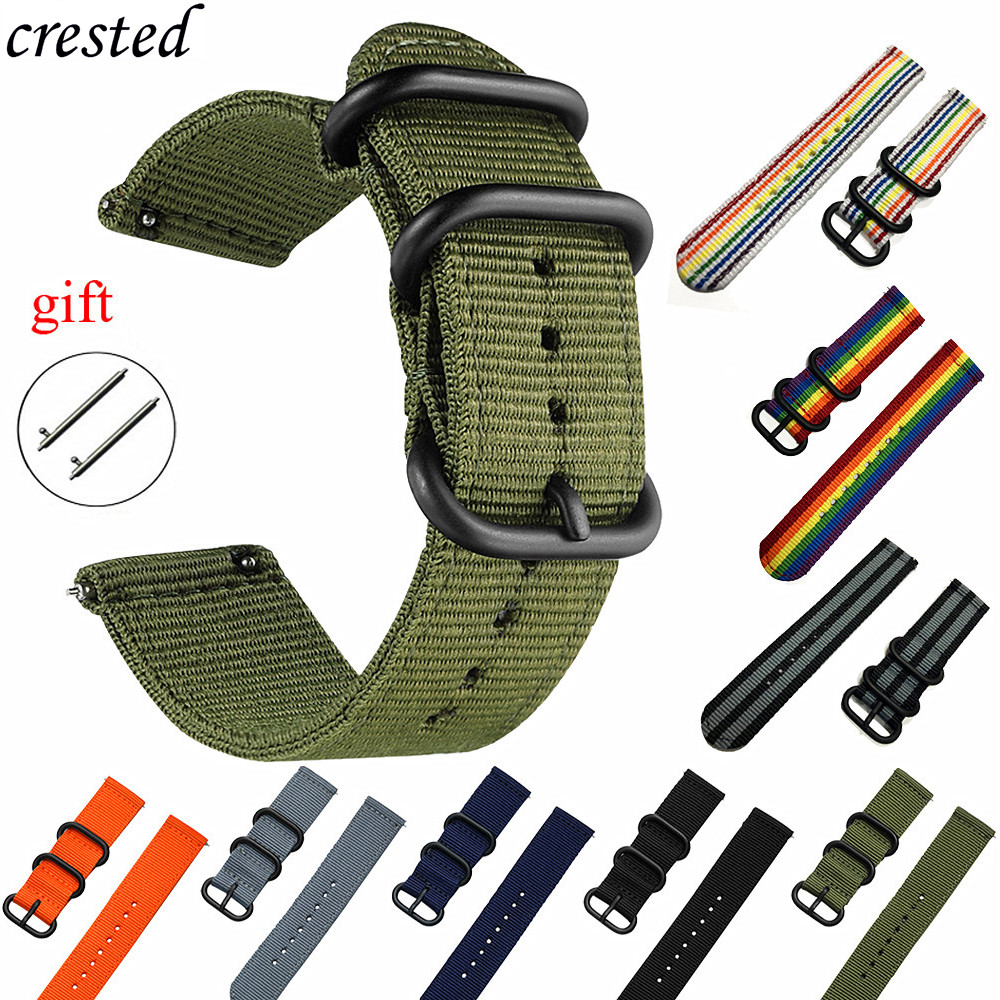 Nato Strap For Samsung Galaxy Watch 46mm 42mm/Gear S3 Frontier Band/Amazfit Bip Strap Bracelet 20/22mm Watch Band Gear S2/sport