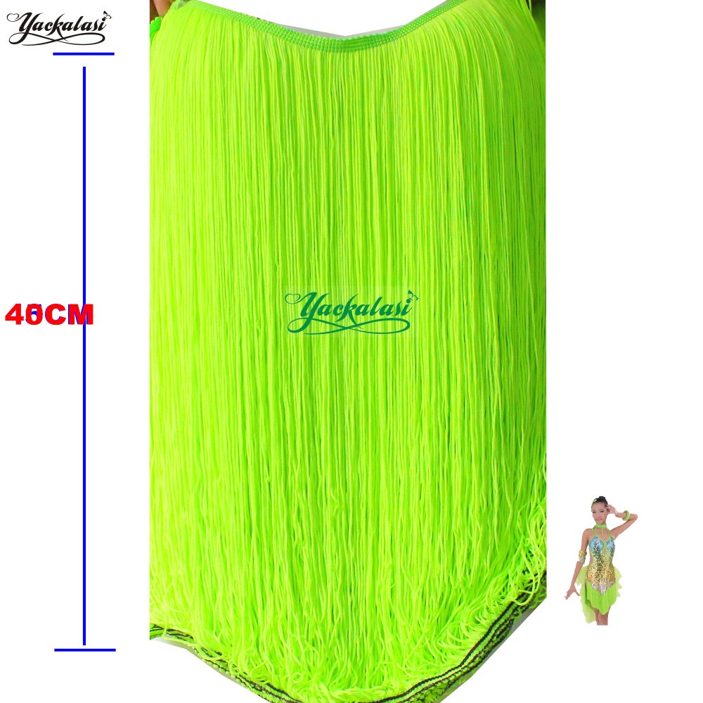 YACKALASI 1 Yards Nylon Fringe Tassel Latin Dress Macrame Double Banded Trimming Neon Green Lemon Yellow 40cm