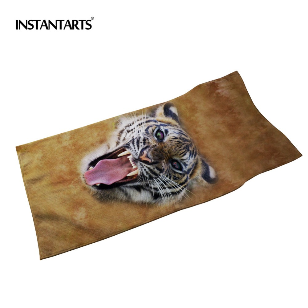 Clever Instantarts Cotton Microfiber Soft Bath Towels 3d Tiger Wolf Printed Quick Dry Sport Swimming Beach Spa Wash Clothing For Adult Neither Too Hard Nor Too Soft
