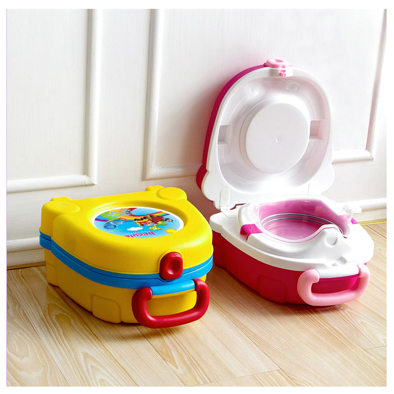 Child Travel Car Portable Toilet Training Potty Seat Urine Tub Folding Baby Toilet Trainer Seat Baby Born Potty with Handles penguin style baby potty toilet trainer