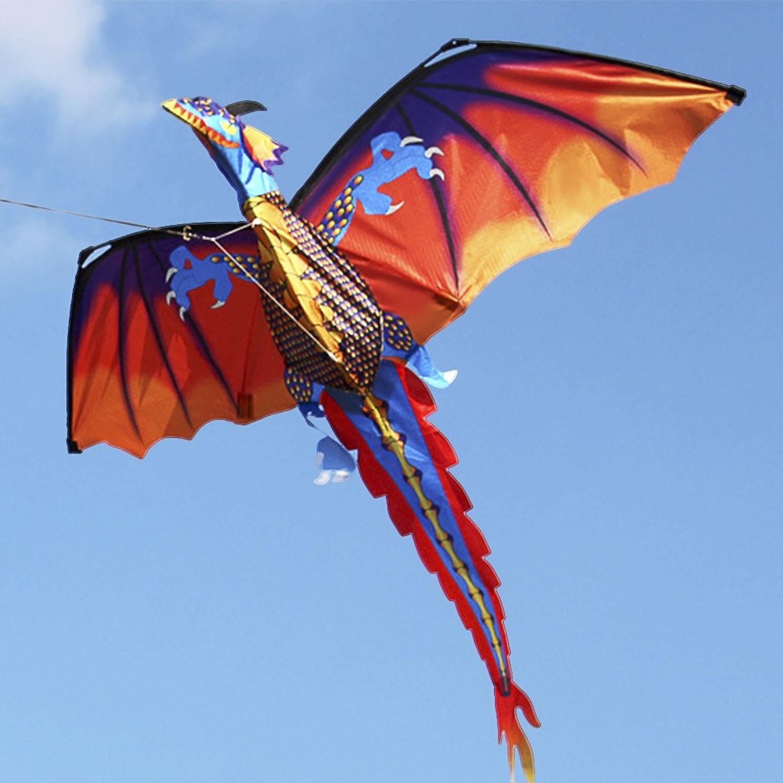 47x55 polegada grande desenhos animados 3d dragão kite pterossauro dinossauro pipas voando com cauda 328ft linha de pipa para crianças adultos esportes ao ar livre