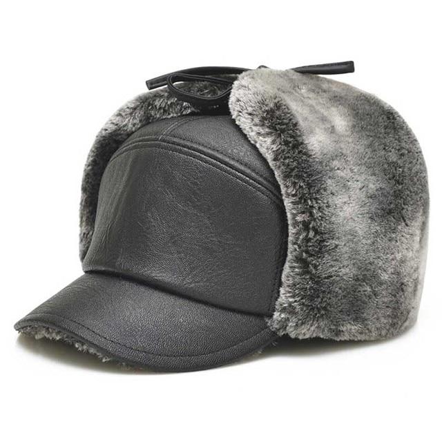 High quality men's winter leather benn baseball cap warm mens winter hats ear flaps plus velvet thick middle aged elderly hat