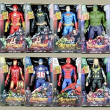 30cm Marvel Flashing Sound Avengers Infinity War Thanos Spiderman Hulk Iron Man Captain America Action Figure Toys Dolls toys avengers infinity war thanos hulk black panther spiderman captain america iron man action figure marvel collectible model toys
