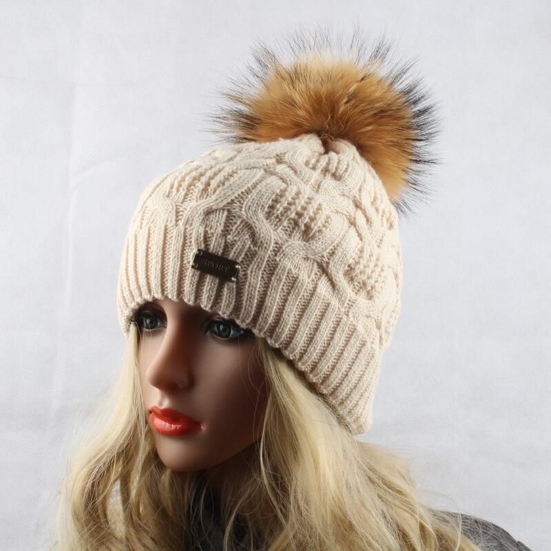 Žiemos kailių pompom skrybėlės moterims Nekilnojamasis usūrinių - Drabužių priedai - Nuotrauka 3
