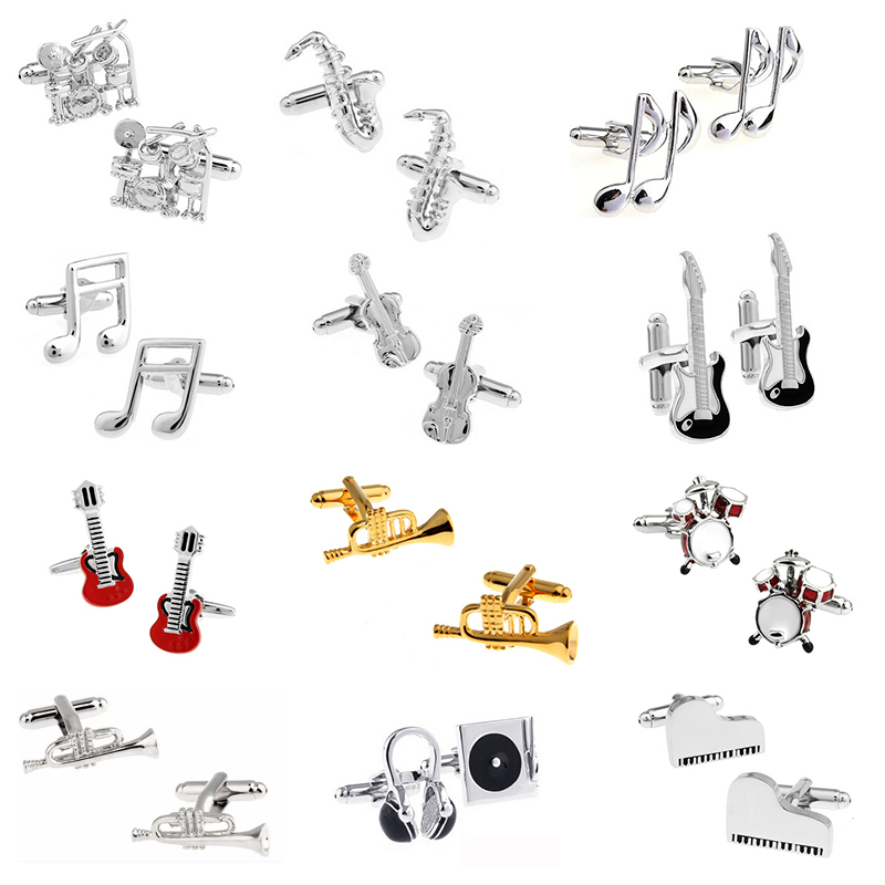 cufflinks high quality piano guitar saxophone trump drums note music cufflinks for mens wedding gifts cuff links gemelos botones