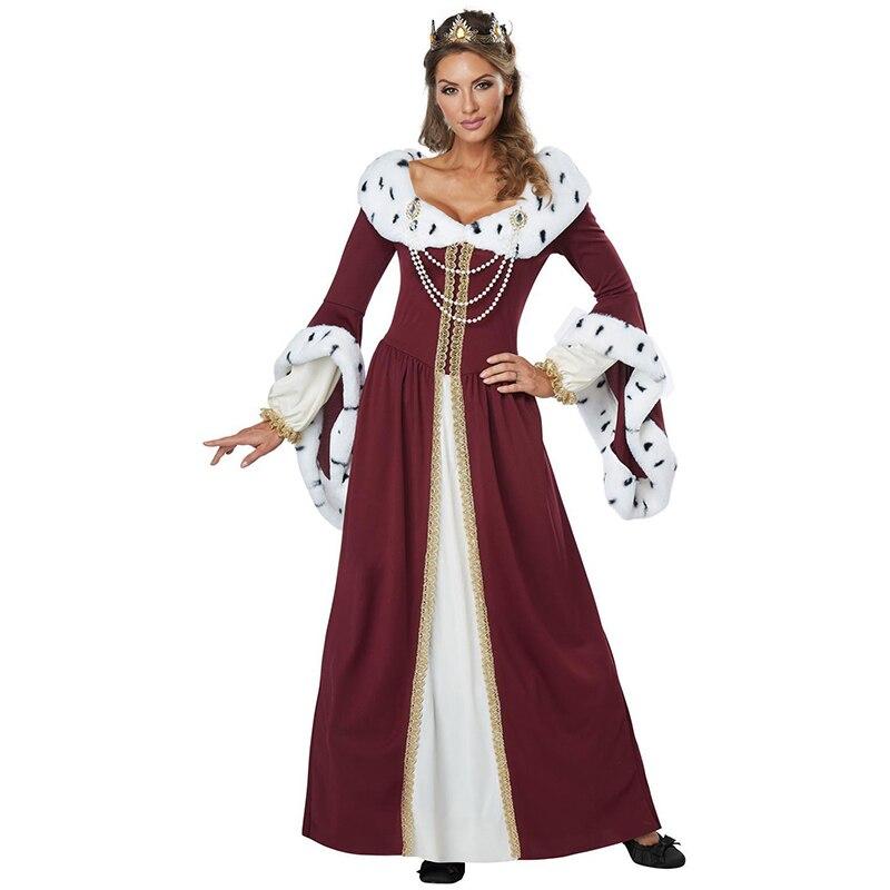 Femmes De Luxe Reine Costume Avec Couronne Pour Les Femmes Adultes Jeu de Rôle Performance De Fête Fantaisie Robe Pour La Fête D'halloween