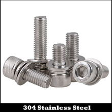 304-Stainless-Steel Screw-Assembly Socket-Spring Allen-Head Hexagon M8 Washer Plain Knurled