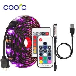 Светодиодная лента RGB, водонепроницаемая, 5 в пост. Тока, USB, гибкая световая лента 5050, 0,5 м, 1 м, 2 м с пультом ДУ для подсветки телевизора