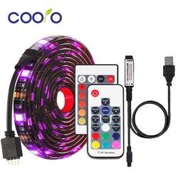 RGB Светодиодная лента Водонепроницаемая DC 5V USB Светодиодная лента гибкое освещение 5050 0,5 m 1m 2m с пультом дистанционного управления для подсве...