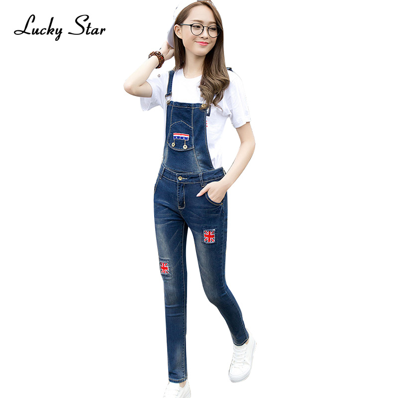 2017 Casual Ripped Hole Scratched Pants Ripped Pockets Women Lady Denim Jumpsuit Jeans Suspender Bib Long Trousers Overall D303 new arrival women blue denim overall multi pocket suspender trousers sweet jeans jumpsuits for girls