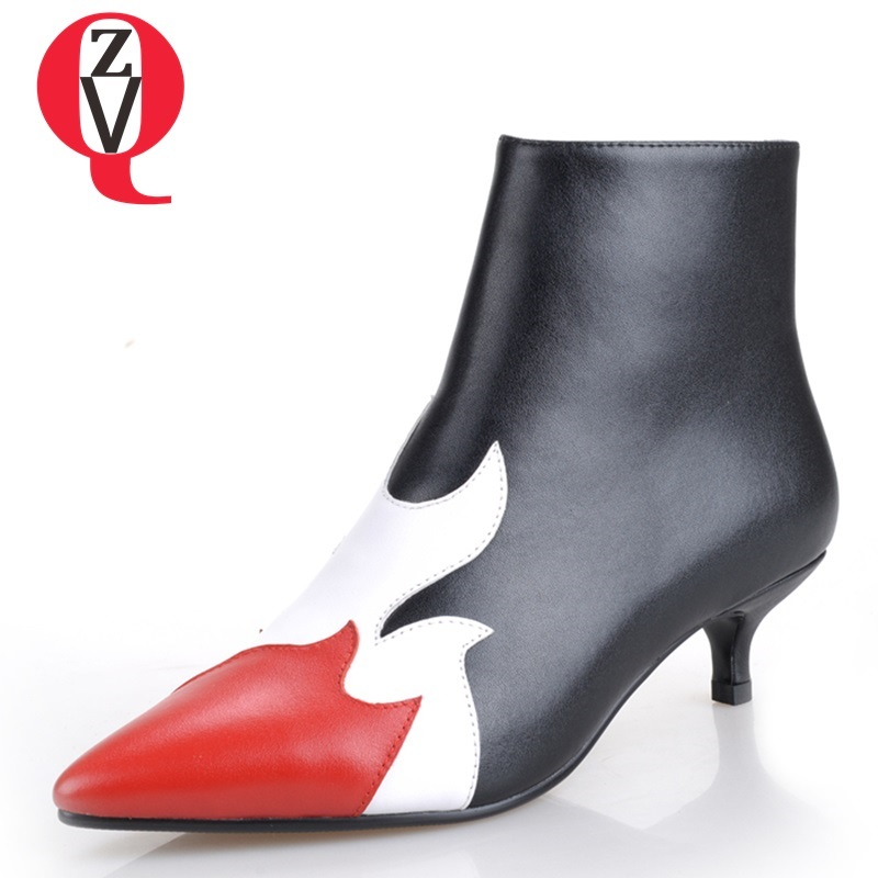 59feb268190177 Bottes Minces En Zvq Bout Sexy Pointu À Chaussures Mode Chaud white Clors  Hiver Nouvelle Femmes L'extérieur Talons Véritable Cheville Cuir ...
