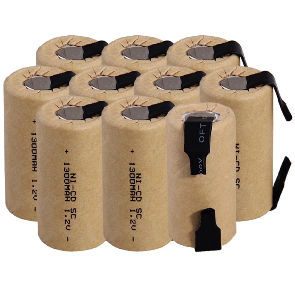 Lowest Price 10 Piece SC Battery 1.2v Batteries Rechargeable 1300mAh Nicd Battery For Power Tools Akkumulator