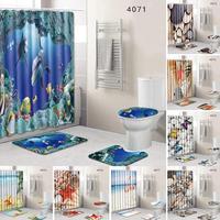 Hot 8 Types 4Pcs Set Bathroom Non Slip Pedestal Rug + Lid Toilet Cover + Bath Mat+Shower curtain Drop Shipping #0612