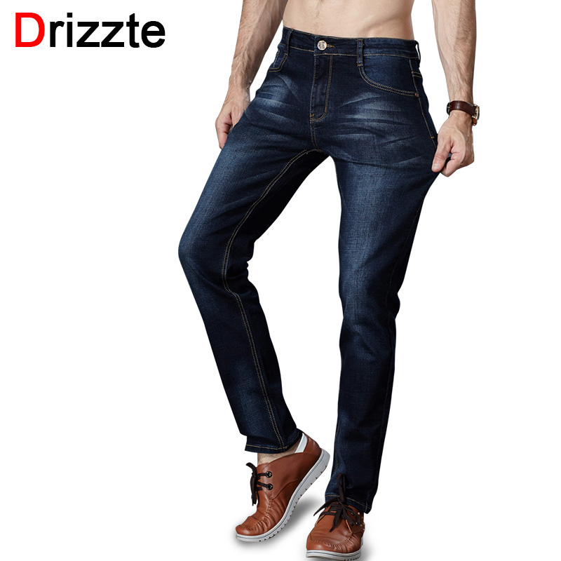 Drizzte Men's Jeans Stretch Trendy Black Blue Denim Brand Men Slim Size 30 32 34 35 36 38 40 42 Trousers Pants Jean drizzte men s jeans classic stretch blue denim business dress straight slim jeans size 34 35 36 38 pants trousers jean for men