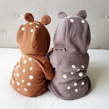Autumn Cotton Rabbit Ear knitted Rompers Infant Girls Boys Cute Animal Playsuits dot printed  Hooded Outfits baby clothes