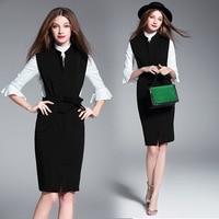 2017 New Spring Big Size Women Dresses Vintage Fashion Business Attire Dress Elegant Casual Two Pieces