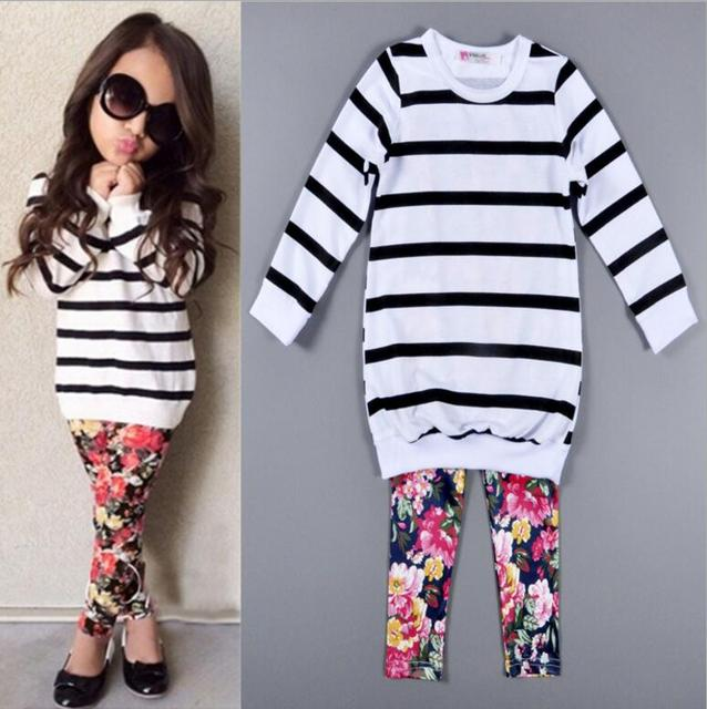 2017 Girls Baby Childrens Clothing Sets Striped T-shirts Floral Pants 2Pcs Set Spring Autumn Girl Kids Leggings Boutique Clothes