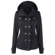 Female Womens Winter Jacket Coat Thick Womens Hooded Long Sleeve Coat Sweatshirt Coat With Double Breasted USPS Dropshipping