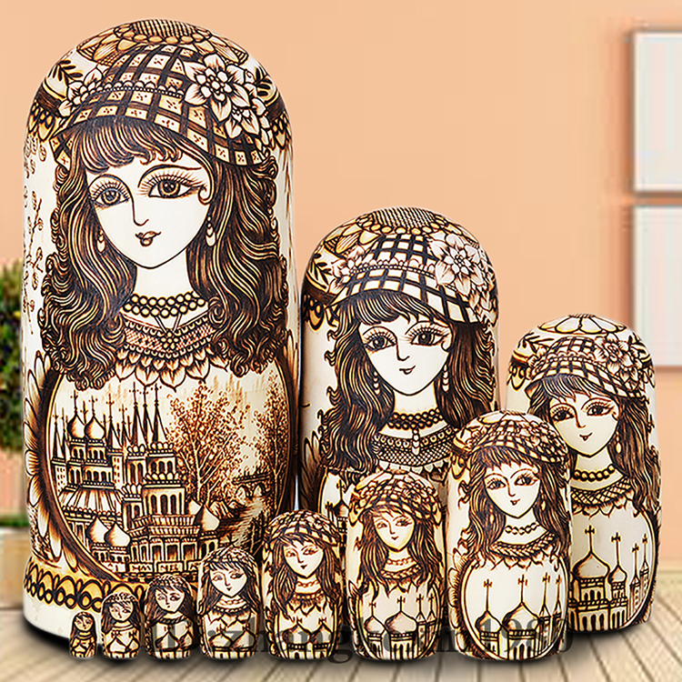 Limited Edition 10pcs Super Junior Russian Nesting Dolls Handmade Wooden Toys Matryoshka Doll Girlp40 Birthday Gift