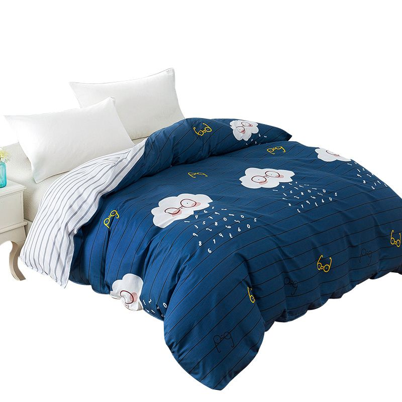 New Cartoon Glasses Rain Cloud Printing Duvet Cover with Zipper 100% Cotton Blue Quilt Comforter Cover for Children/Adult Gifts