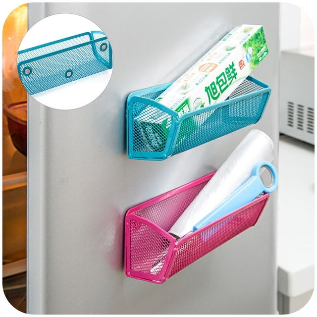 New Refrigerator Magnetic Storage Box Iron Storage Holder For Fridge  Microwave Oven Organizer Removable Hanger Wall