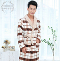 Hombre otoño invierno plaid Baño feelce cosplay Albornoz Pijama Grueso Largo Homewear Bata de Spa Ducha