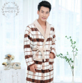 man winter fall  plaid  Bathroom feelce  cosplay  Bathrobe Pajama Thick Long Spa Robe Shower Homewear
