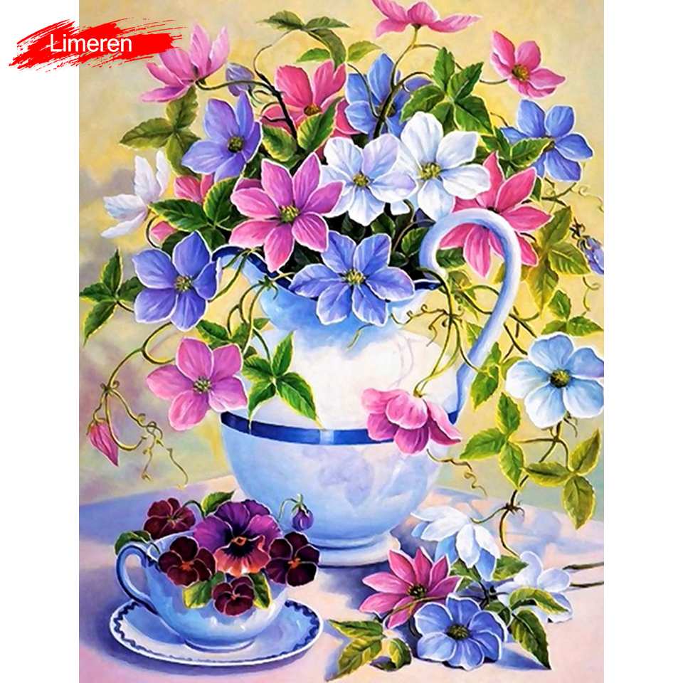 Colorful Flowers DIY Digital Oil Painting By Numbers Modern Wall Art Canvas Handpaint Unique Gift For Art Wall Home Decor