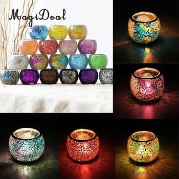 Mosaic Glass Candle Holder Votive Tealight Holder Bowl Wedding Decorative Lighting Accessories Festive Light Holder 5-set