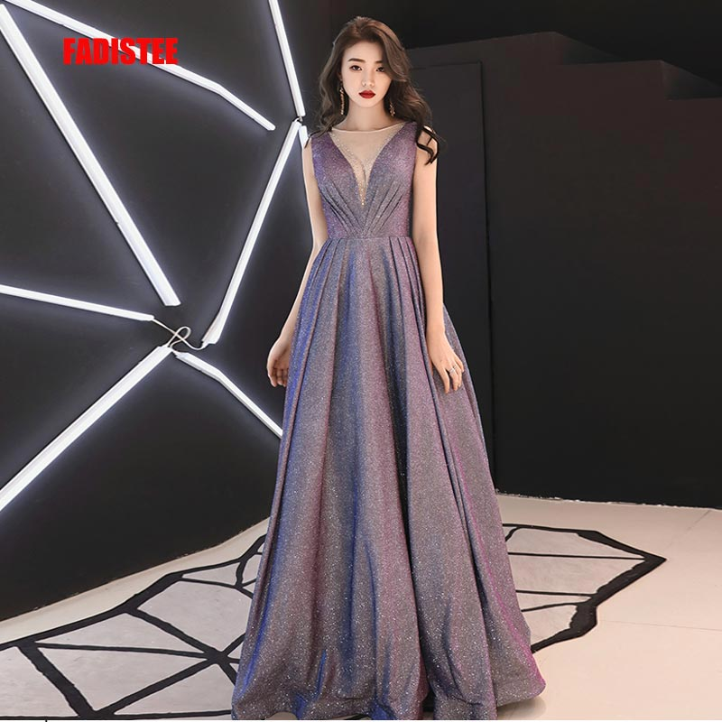 FADISTEE New arrival modern party   dress     evening     dresses   prom lace A-line sexy Transparent V-neck bling satin lace-up 2019